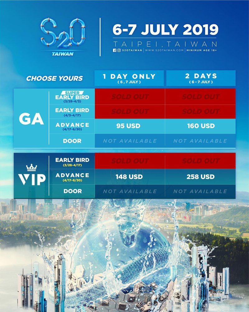 S2O Ticket selling schedule