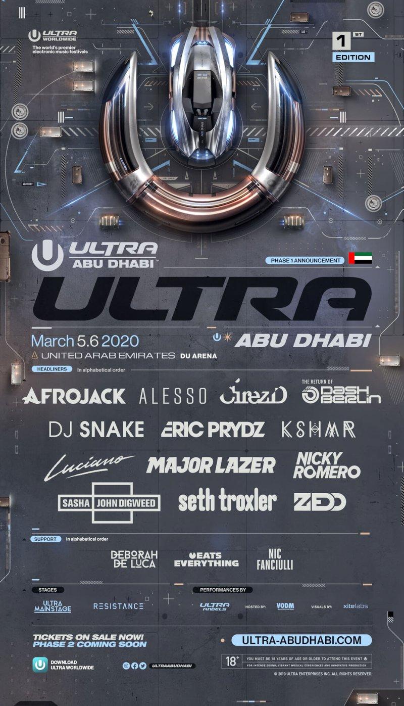 Ultra Abu Dhabi 2020 lineup poster