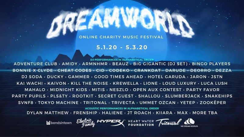 Dreamworld online charity music festival lineup