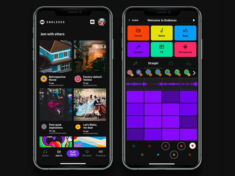 Screenshot of Endless music collaboration app