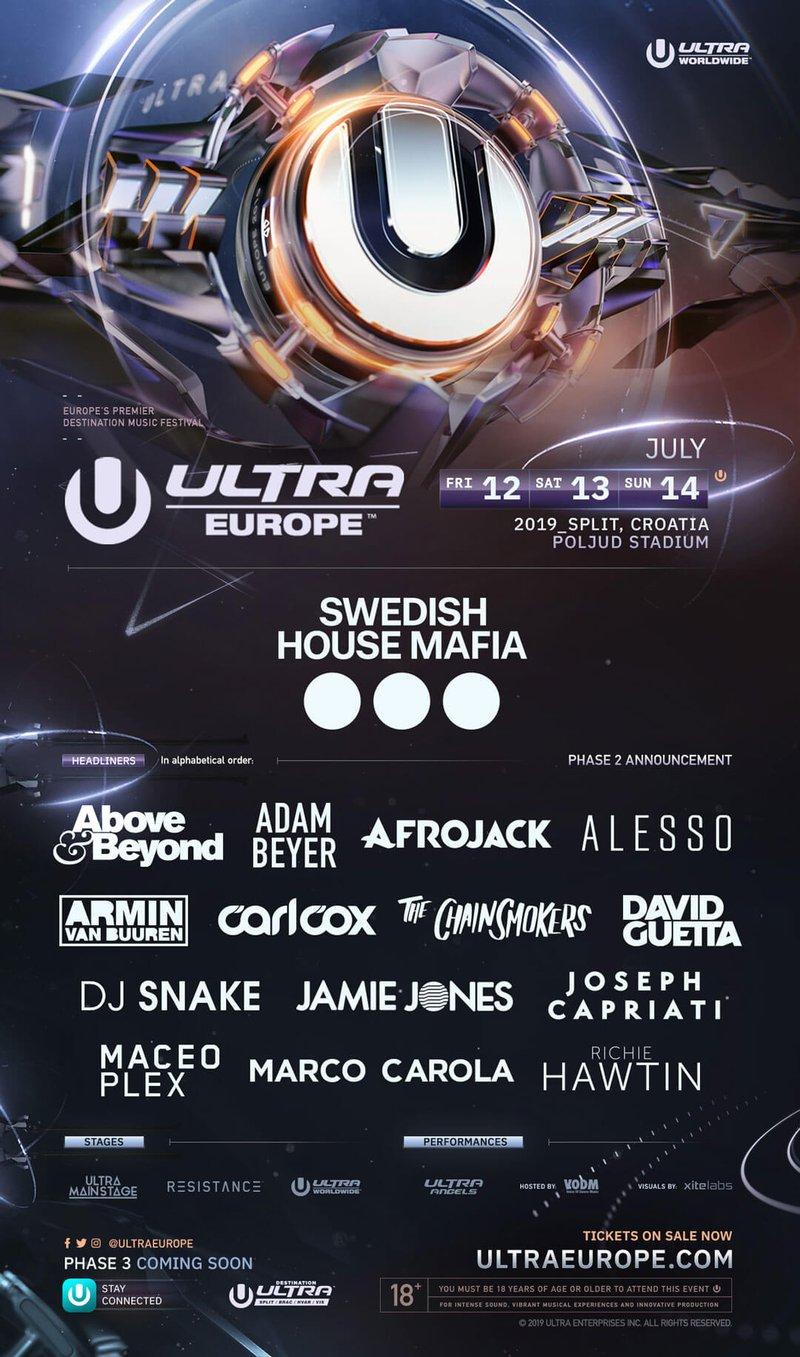 Ultra Europe Lineup 2019