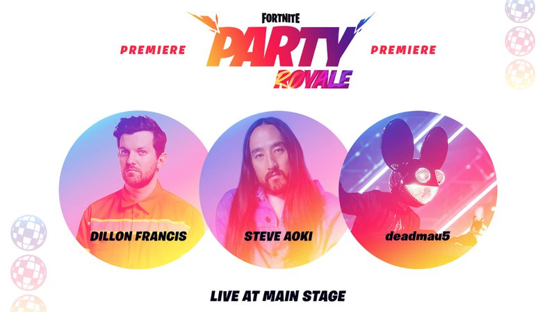 Fortnite Party Royale premiere with Dillon Francis, Steve AOki and deadmau5