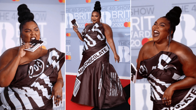 Lizzo on the red carpet at the Brits 2020