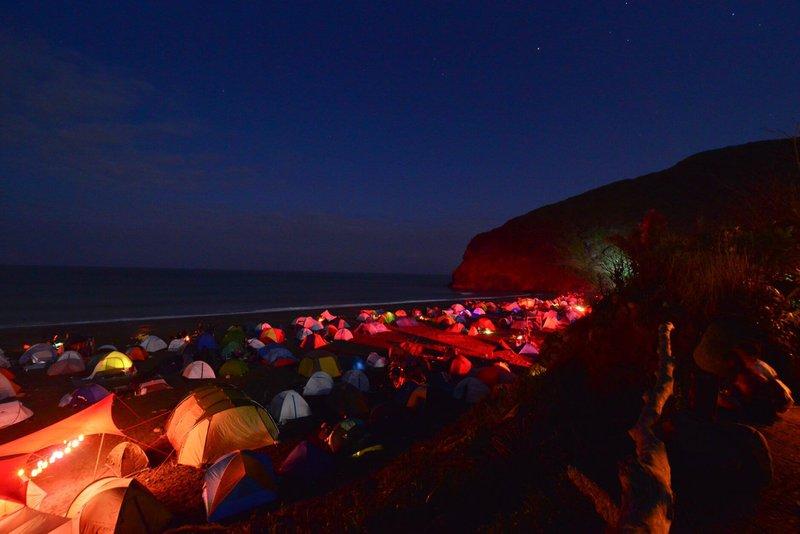 Organik Festival campsite by night, Hualian, Taiwan