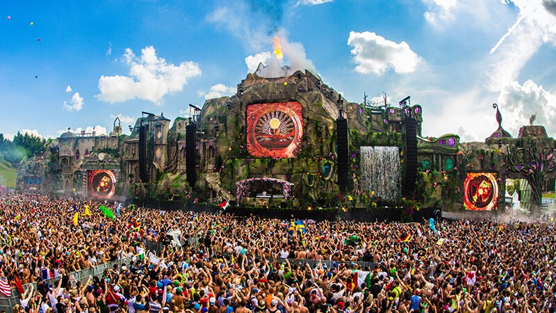 Tomorrowland festival stage with crowd