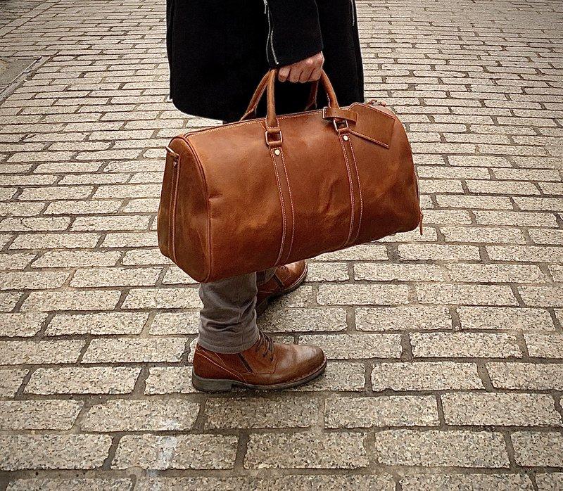 Leather Weekender Duffel Bag
