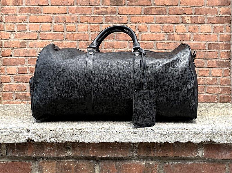 Black Leather Weekender Duffel Bag