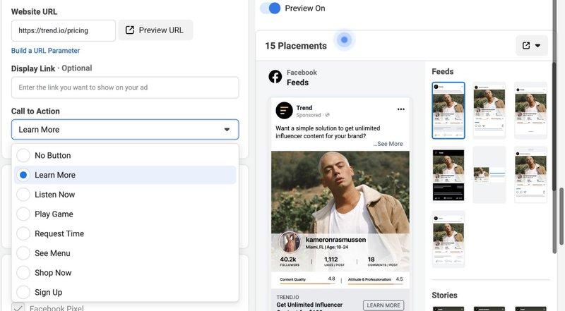 facebook cta button options