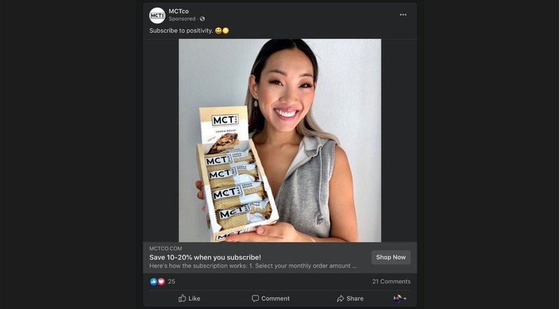 facebook ad with influencer content