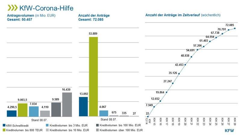 Anzahl und Umfang der Corona-Kredite in DE 2020