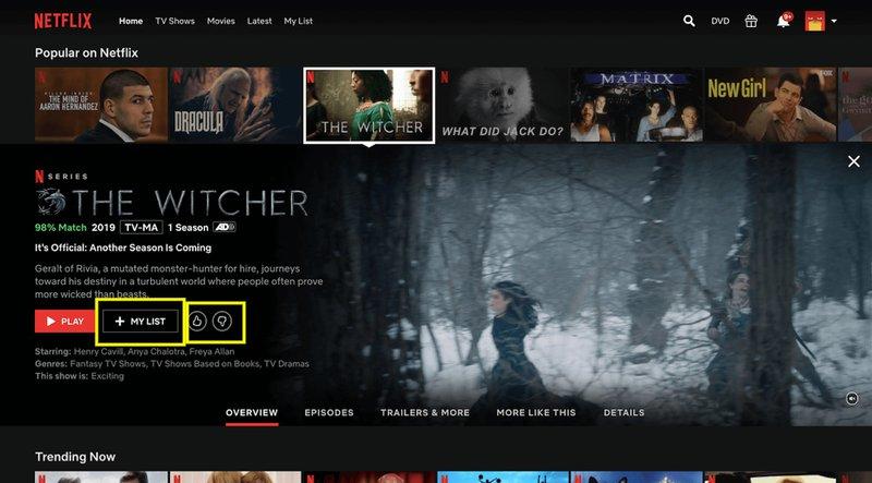 Netflix hover feature
