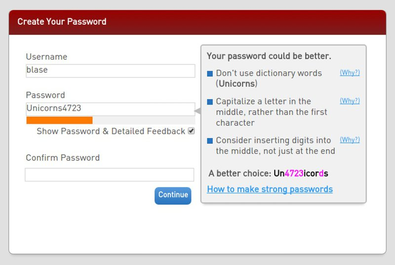 example of complicated password requirements that affect UX design
