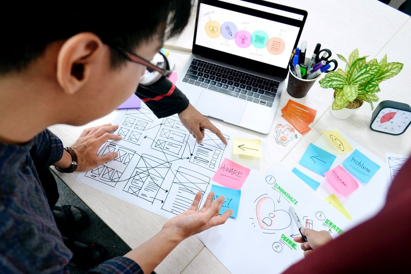People reviewing the design thinking process