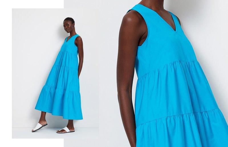 lady in blue dress - amsterdam dress- MarcellaModa NYC