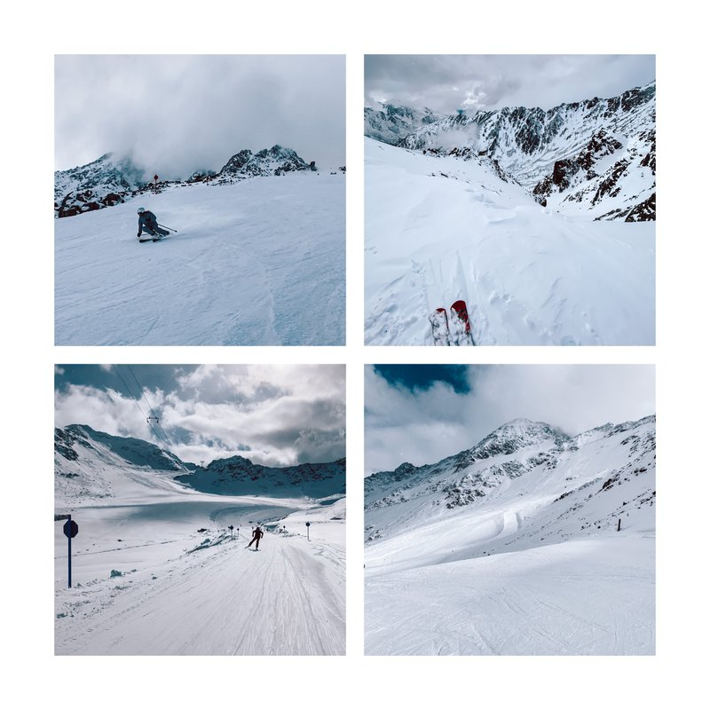 first time skiing of the season at the Kaunertal Glacier