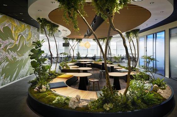 Garden inside modern open plan office