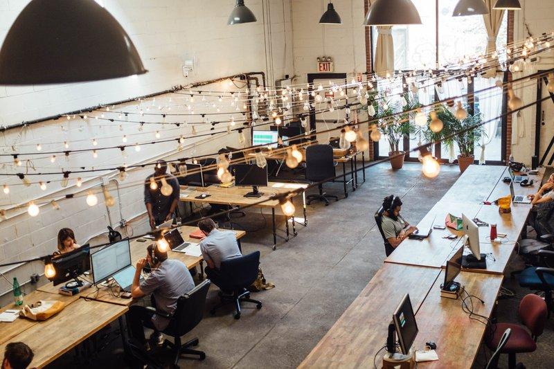 modern co-working office fairy lights