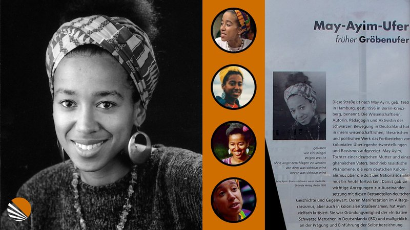 pictures of the Afro German Poet and activist May Ayim
