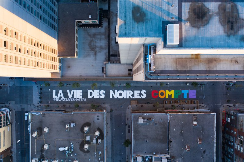 La Vie Des Noir.e.s Compte / Black Lives Matter painted on the streets of Montreal.