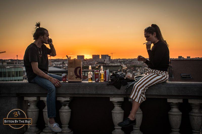Student life with COVID-19 restrictions - Brussels sunset