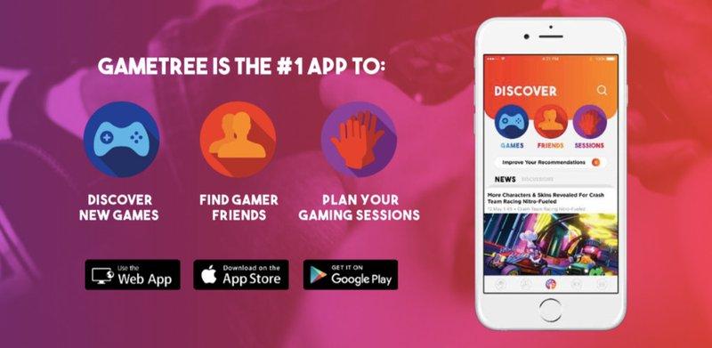 Gaming app to find friends - GameTree