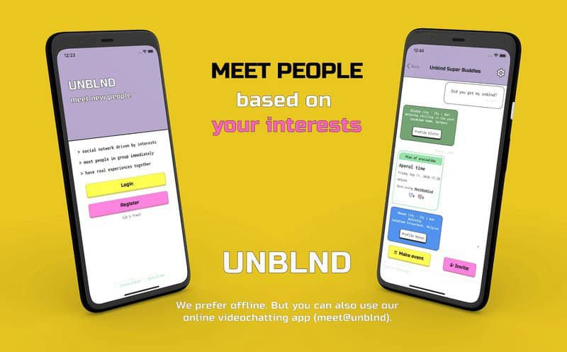 similar apps to Meetup - UNBLND - make friends based on interest