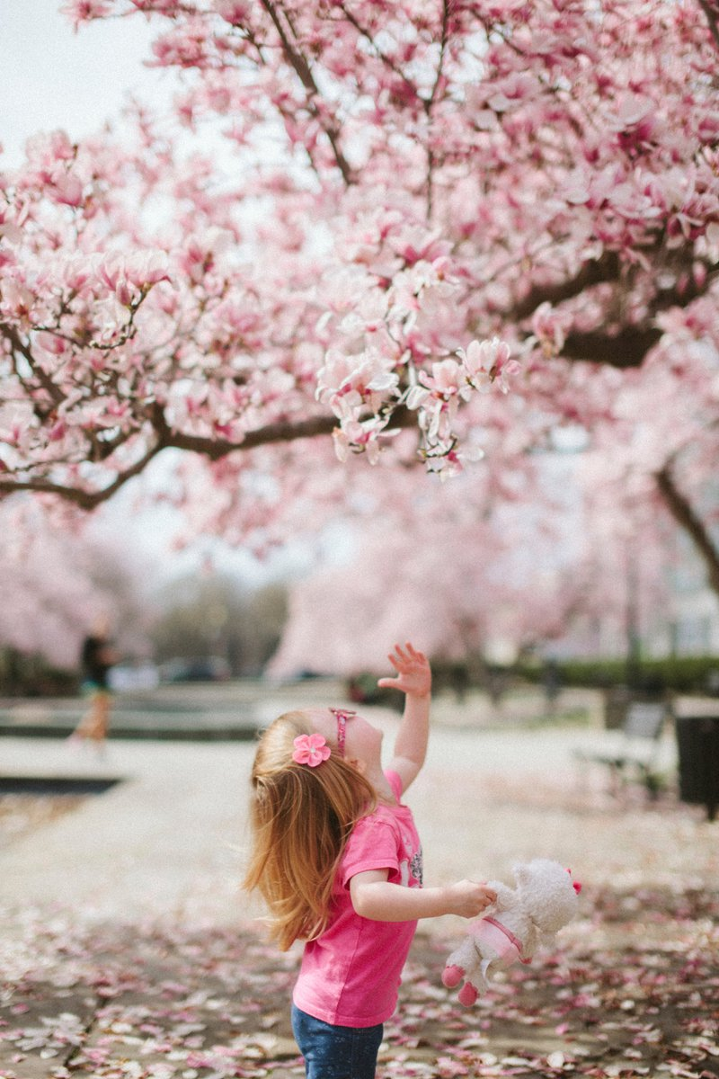 young girl in pink shirt enjoying spring flowers