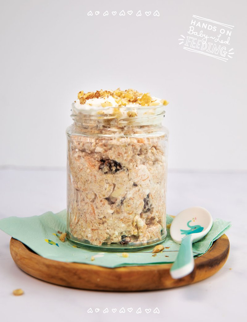 baby led weaning breakfast carrot cake overnight oats