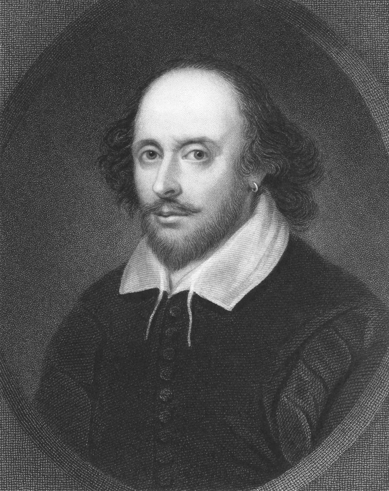 William Shakespeare on engraving from the 1850s. English poet and playwright, widely regarded as the greatest writer in the English language.