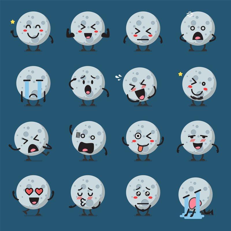 Moon character emoji set. Vector illustration