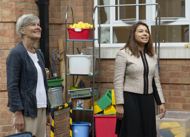 Labour's Shadow Education Secretary Kate Green, MP, and Shadow Minister for Children and Early Years Tulip Siddiq, MP, visit Bessborough Nursery in Pimlico, London, on Thursday, July 16, 2020.
