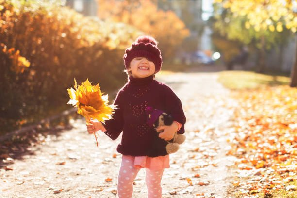 little girl in red poncho and beret with a bouquet of yellow maple leaves with toy dog laughs on the street in autumn