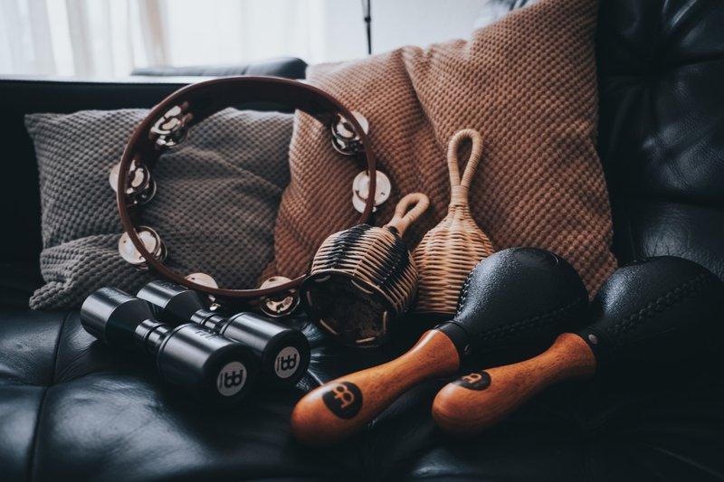 New percussion instruments: caxixi, maracas, shaker & tambourine.
