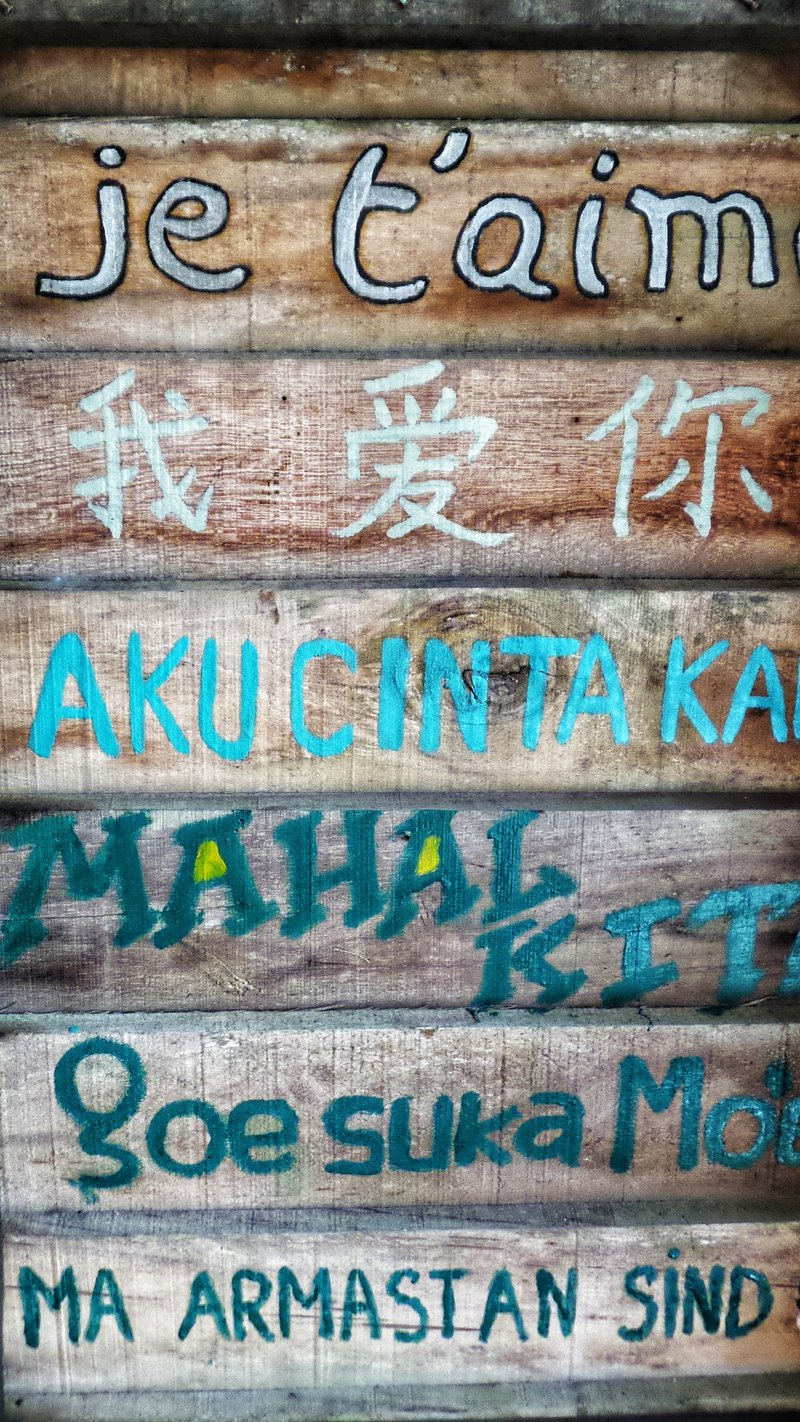 I love you painted in various language from around the world on wood