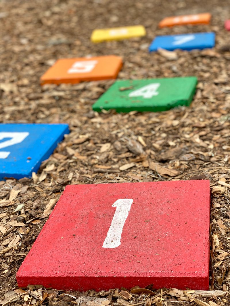 Kids hopscotch game in playground.