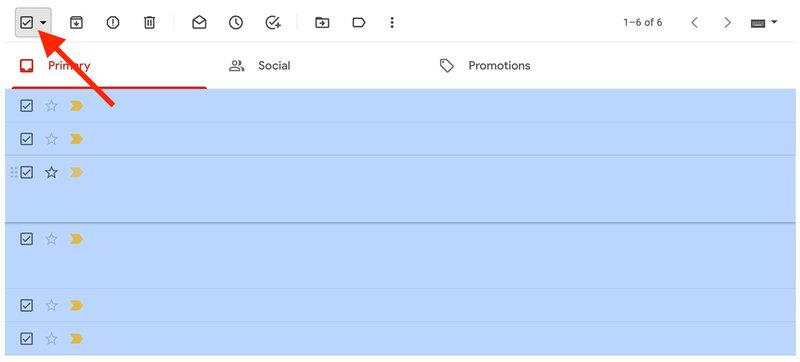 Select all messages at once in Gmail