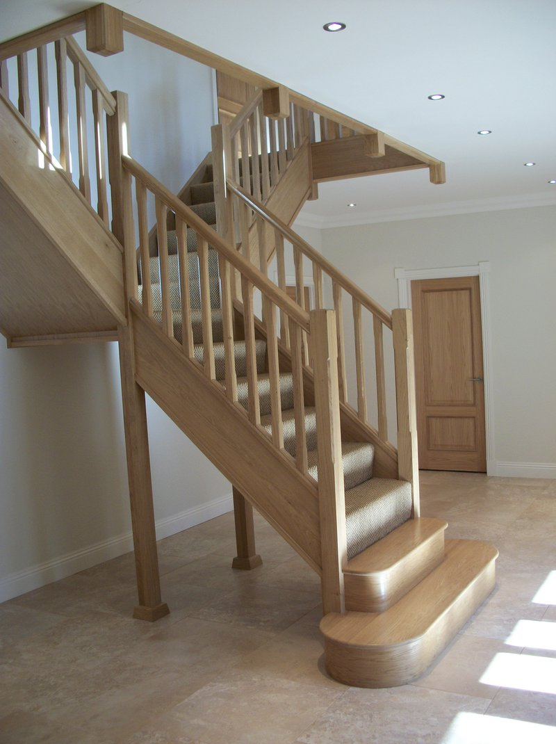 Oak Double Curtail Staircases