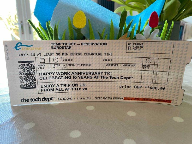 Work anniversary gift - Eurostar ticket