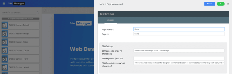 seo website optimization: set page url, page name, seo tile