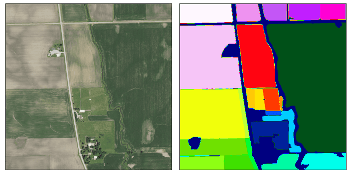 Example of a field (left) with its annotated mask (right)