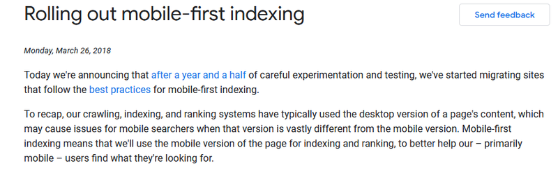 Google's mobile-first intexing statement