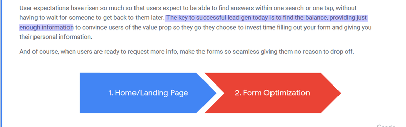 A snippet from Google's UX Lead Gen Playbook