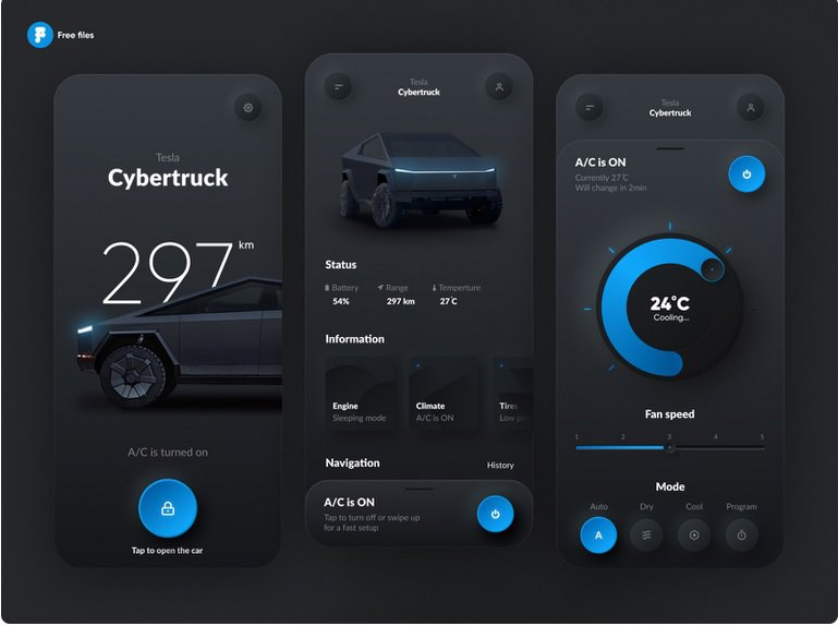 Neumorphic Web Design Tesla Smart App