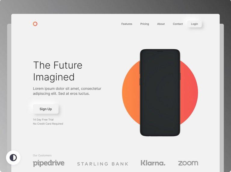 Neumorphic Web Design Landing Page