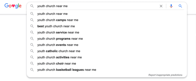 Church Local SEO results