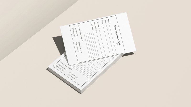 Church visitor onboarding process - registration card