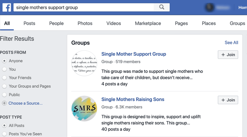 Single mother group searches on Facebook.