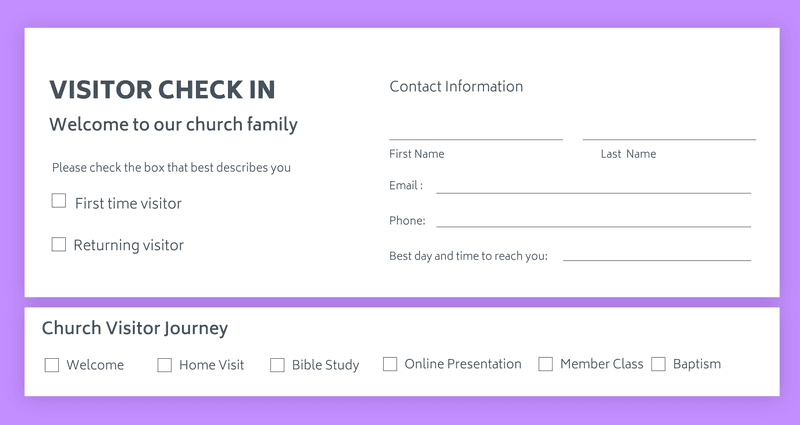 Church visitor check in card