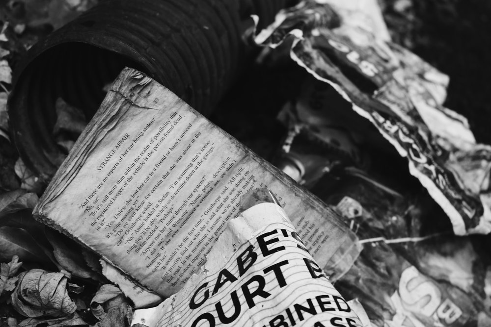Newspaper in the trash