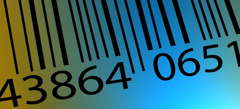 Barcode with laser.